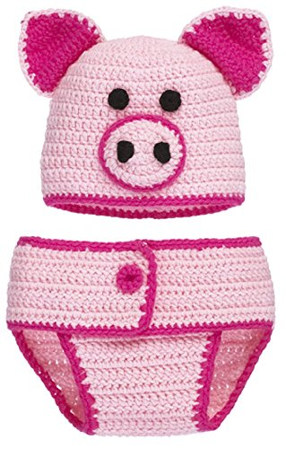 This Little Piggy Knit Cap and Diaper Cover Set for Infants 0 - 6 Months]()