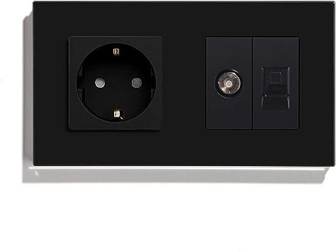 BSEED Enchufe de pared con 1/2 PC+ TV,Antena de TV coaxial y ...