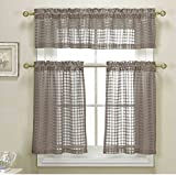Cheap 3 Piece Taupe Sheer Kitchen Curtain Set: Woven Check Design, 1 Valance, 2 Tier Panels (Taupe)