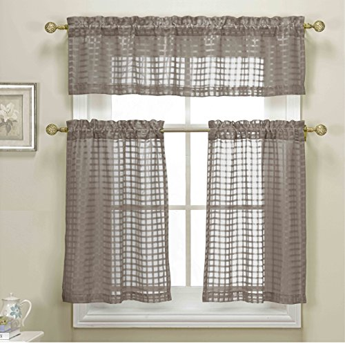 Piece Taupe Sheer Kitchen Curtain