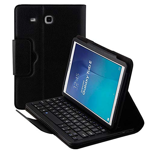 - Detachable Keyboard Case for Samsung Galaxy Tab E SM-T560 9.6 Tablet Slim Leather Magnetic Removable Wireless Bluetooth Keyboard Smart Cover Protective Stand Book Folio Multiple Angle (Black)