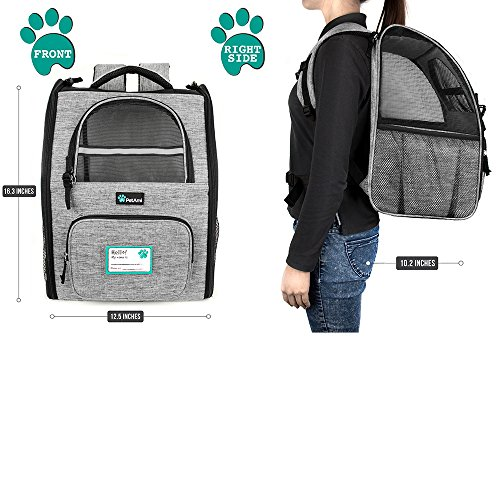 PetAmi Deluxe Pet Carrier Backpack for Small Cats and Dogs, Puppies | Ventilated Design, Two-Sided Entry, Safety Features and Cushion Back Support | For Travel, Hiking, Outdoor Use (Heather Gray) by PetAmi (Image #2)