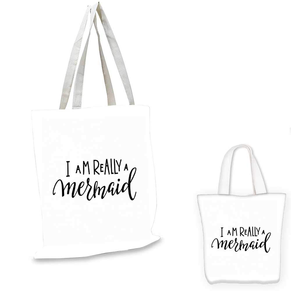 Im Mermaid shopping bag storage pouch Girl Quotation Monochrome Calligraphic Hand Written Inspirational Arrangement small tote shopping bag Black White 12x14-10