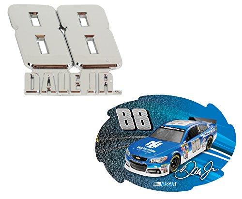 Dale Jr #88 Chrome Emblem & Swirl Magnet Set