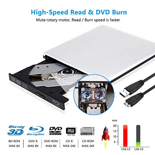 External 3D Blu Ray DVD Drive Burner, Portable Ultra Slim USB 3.0 Blu Ray BD CD DVD Burner Player Writer Reader Disk for Mac OS, Windows 7/8.1/10/Linxus, Laptop, PC