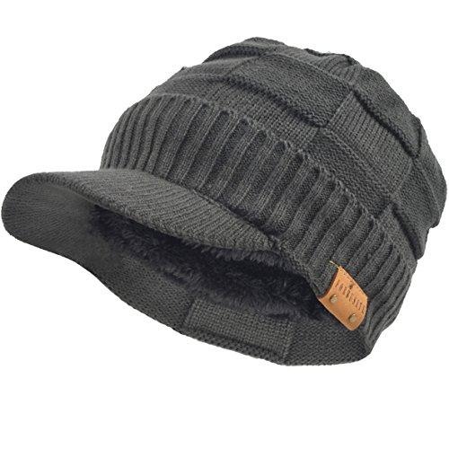 VECRY Men's Knit Cable newsboy Cap Cadet Cabbie Peak Cap Winter Hat (Check-Grey)