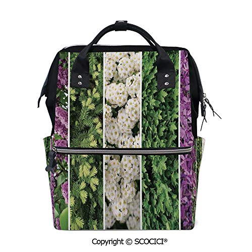 (SCOCICI Travel Backpack Large Diaper Bag,Collage Mix Diverse Herbs and Blossoming Bouquet Flowers Romantic Wedding Concept,with Wide Style Top)