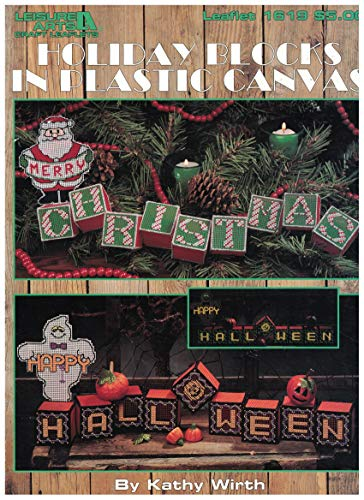 Holiday Blocks In Plastic Canvas, Vintage 1995, Leisure Arts , Inc. By Kathy Wirth, Leaflet 1619