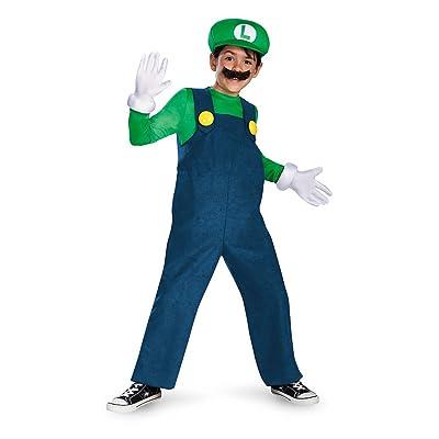 Boy's Nintendo's Super Mario Brothers Luigi Deluxe Costume, 7-8: Toys & Games