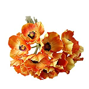 10 Stems Artificial Poppies Real Touch PU Fake Latex Flowers for Wedding Holiday Bridal Bouquet Home Party Decor 8
