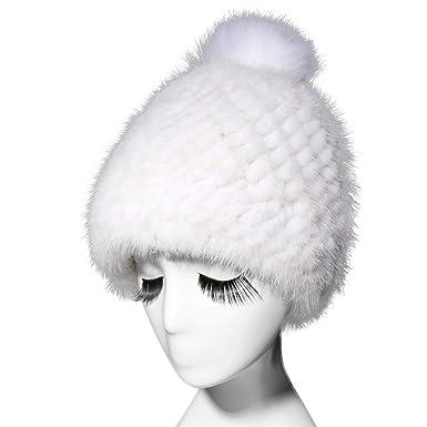 991db0a03 Fur Story Women's Knitted Real Mink Fur Beanie Hat with Fox Fur Pom Pom  Skullies Hat