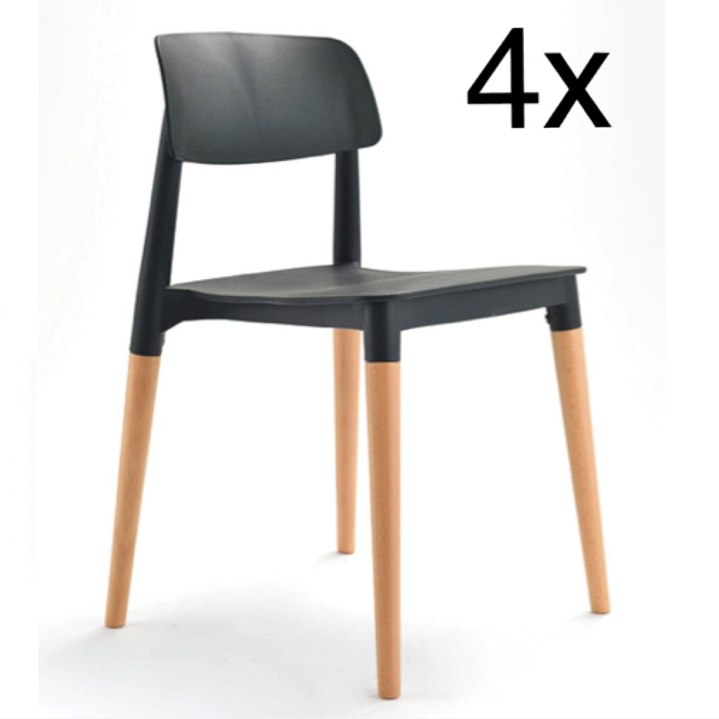 4er Set Stühle Design Retro Stuhl Esszimmerstuhl Bürostuhl Küchenstuhl Massiv Holz Schwarz
