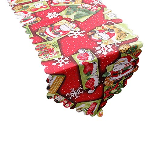 Claus Tapestry - AutumnFall Tablecloth,Home Decorative Christmas Santa Claus Joyous Tapestry Table Runner Beach Towel 14x71 Inch (C)