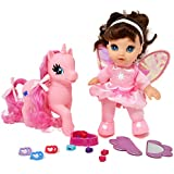 Adorable 8 inch Fairy Doll With Light Pink Unicorn Pony, Pony Wonder Land Set Comes with Mirror, Comb, clips, bead and more Accessories for Pony's and Doll's Hair