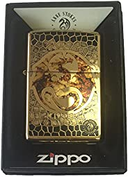 Zippo Custom Lighter - Ann Stokes Artist Dragon w/Scales Design High Polish Brass