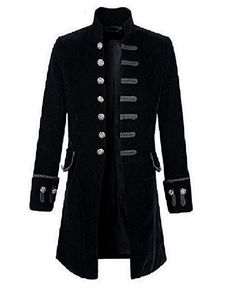 new arrivals attractive & durable pretty cool Premium Quality Stylish Mens Black Velvet Goth Steampunk Victorian Frock  Coat/USA Sizes