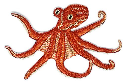Octopus Costume Australia (3.75 inches x 2.5 inches Octopus Sea Life Cartoon Sew Iron on Embroidered Applique Craft Handmade Baby Kid Girl Women Cloths DIY Costume Accessories)