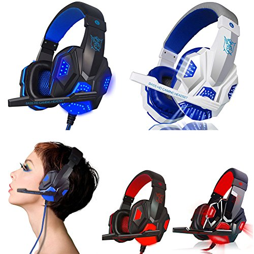 SCASTOE USB 3.5mm Surround Stereo Gaming Headset Headband Headphone with Mic LED for PC