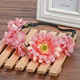 New Women Floral Headband Flower Wedding Hair Accessories Adjustable Beach Boho Hairband Daisy Girls Hair Accessories Orange