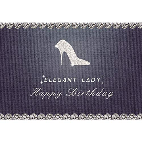 AOFOTO 7x5ft Elegant Lady Jean 31st Birthday Backdrop Silver High Heels Denim Background Girl Woman Ms 20th 30th 40th Bday Bash Decoration for Photography Photo Studio Props Vinyl