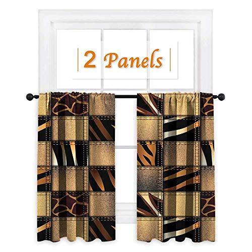 maisi Safari Decor, Room Darkening Wide Curtains, Jeans Denim Patchwork in Style Wilderness Stylish Fashionable Design Art, for Kitchen Windows (W72 x L45 Inch) Brown Black
