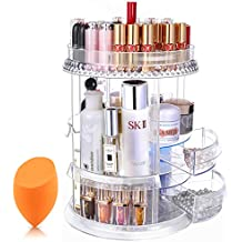 Mokaro Makeup Organizer Acrylic Cosmetic Storage with Drawers 360 Degree Rotating Cosmetic Display Cases for Countertop - Extra Large 7 Layers Adjustable Clear Skin Care Organizer with Beauty Blender