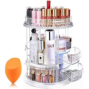 12ebbe276709 Amazon.com: JOffielle Makeup Display 360 Rotating Acrylic Drawer ...