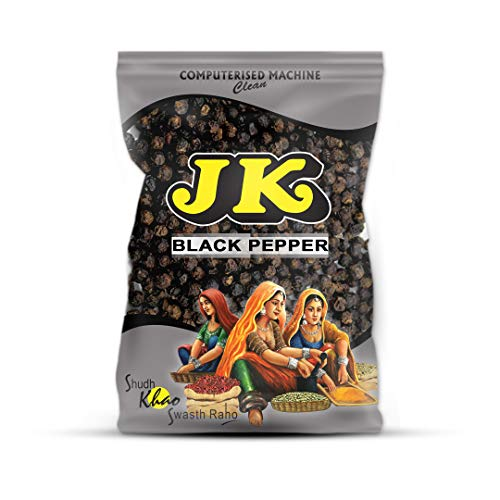 (JK BLACK PEPPER PEPPERCORNS 3.53 Oz, 100g (Indian Black Pepper Whole) Non-GMO and NO preservatives!)