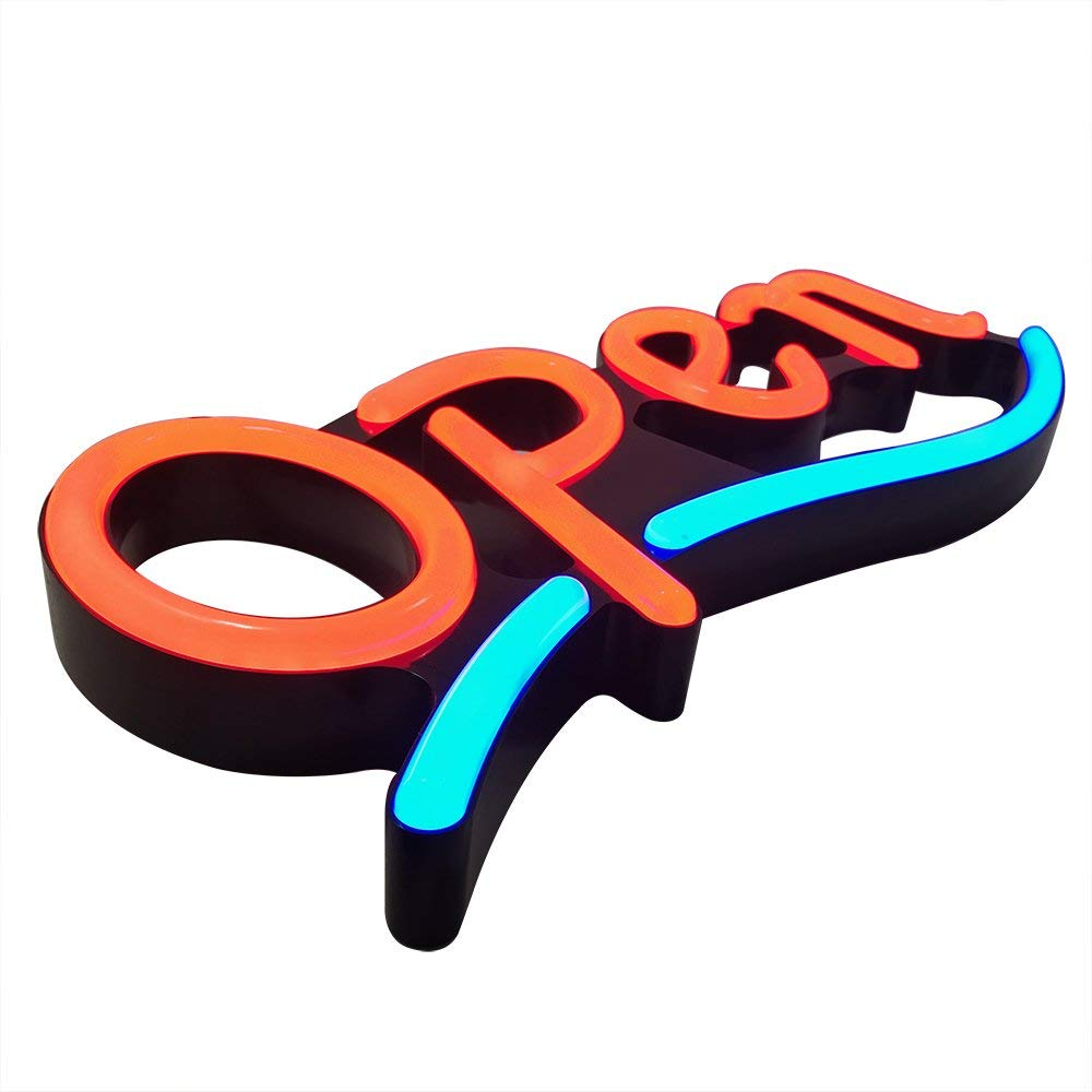 Remote Controlled LED Neon Open Sign - Wavy Line Shape, 9x22'' Size, Red - Blue Color (#3277) by LED-Factory (Image #4)