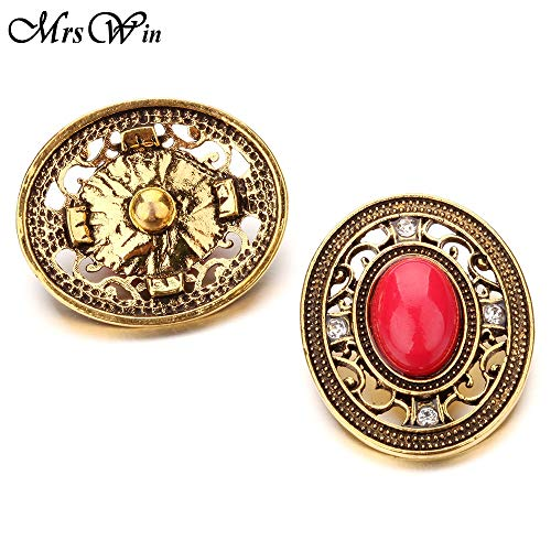 - New Snap Natural Stone | Big 18Mm Metal Snap Button | Vintage Charms Fit Snap Button Bracelet Bangle Buttons (1)