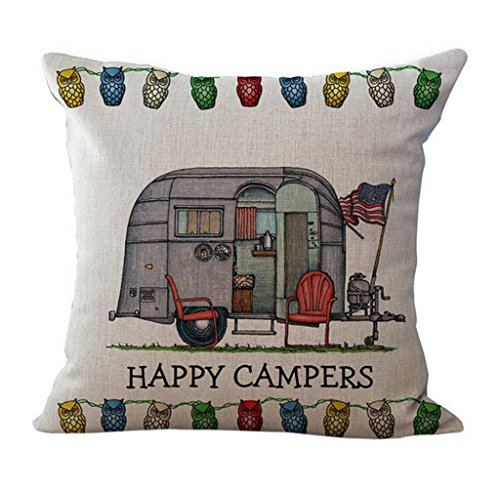Halloween Decor Youtube (Usstore Pillow Case Pillowslip Home Decor Letter Happy Campers Cover Gift (C))