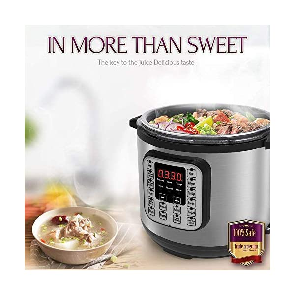 Acare 6 Qt 7-in-1 Programmable Pressure Cooker,6 Quart/6L Stainless Steel Multi-Use Cooker,1000W,Slow Cooker,Rice Cooker… 6