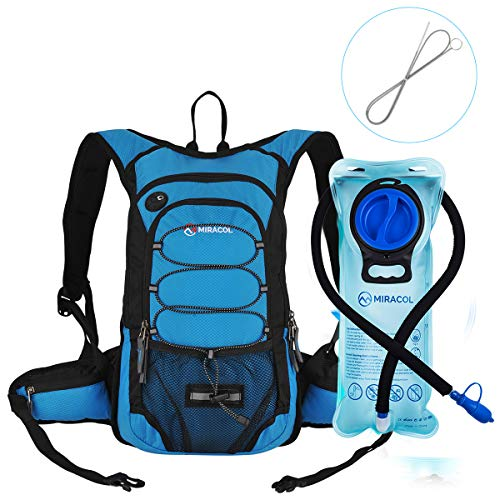 MIRACOL Hydration Backpack with 2L Water Bladder & Long Tube Brush, Insulated Hydration Pack Keeps Liquid Cool up to 4 Hours, Prefect Outdoor Gear for Hiking, Camping