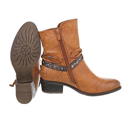 Women's Design Block Ital Boots Amp; Biker Ankle Camel At Heel IazqOz