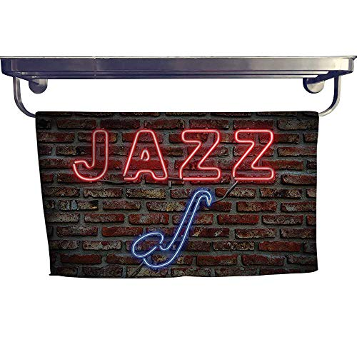 Leigh home Pool Gym Towels, Image of Bright Neon All Jazz Sign with Saxophone on Brick Wall,Good Ideal for The Kid's Room, a Guest Room W 35.5