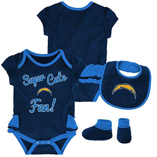 Outerstuff NFL NFL LA Chargers Newborn & Infant Mini Trifecta Bodysuit, Bib, and Bootie Set Dark Navy, 24 Months ()