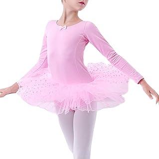 Zzzzy Justaucorps Danse Fille Manche Longue,Ballet Gymnastique Tutu de Danse Classique Col Rond Extensible de Flexible, Confortable et Doux