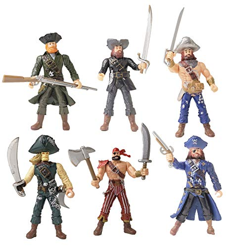 HAPTIME 6 pcs Pirates Action Figure Playset with 6 Weapons / Sea Rover Toy (Each 3.75