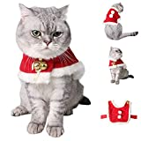 Moonper Pet Cat Dog Christmas Fashion Wind Chime Cloak Small Warm Xmas Red Velvet Coak Costume Apparel Coat (S, Red) For Sale