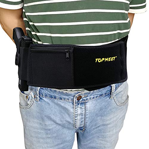 topmeet Belly Band Holster for Concealed Carry,Appendix Pistol Holster Tactical Magazine Pocket Fit Glock 19 43,SW MP Bodyguard .380 .38 Special,Revolver,Ruger,Colt,Walter,Taurus,XL