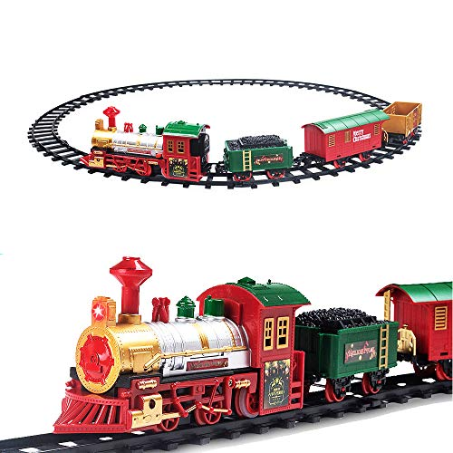 PUSITI Classic Christmas Train Set with Lights and Sounds Railway Tracks Sets Battery Operated Locomotive Engine and 11.5 Ft Tracks Playset for Under The Tree Electronic Toys Gift for Kids (Train Track Tree Christmas On)
