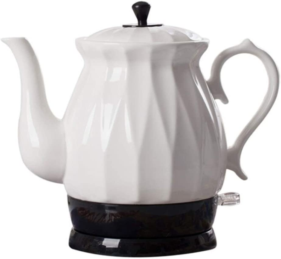 Nobuddy Kettles - Electric Ceramic Cordless White Kettle Teapot - Retro 1.7L Jug, 1350W Boils Water Fast for Tea, Coffee, Soup, Oatmeal - Removable Base, Boil Dry Protection