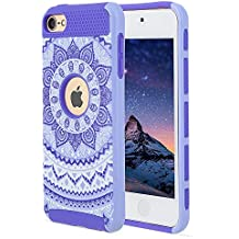 iPod touch 6th Generation Case, iPod touch 5 Case, Alkax Flower Design Case Impact Heavy Duty Rubber & Hard Slim Cover Hybrid Protective for iPod touch 5th Generation / iPod touch 6+Stylus(Purple)