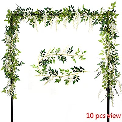 Felice Arts 2 Pcs Artificial Flowers 6.6ft/piece Silk Wisteria Ivy Vine Green Leaf Hanging Vine Garland for Wedding Party Home Garden Wall Decoration