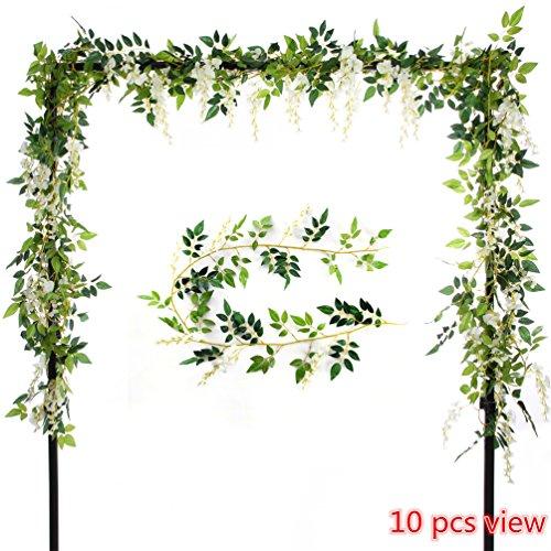 Felice Arts 2 Pcs Artificial Flowers 6.6ft Silk Wisteria Ivy Vine Green Leaf Hanging Vine Garland for Wedding Party Home Garden Wall Decoration, Cream Handmade Garden Mirror