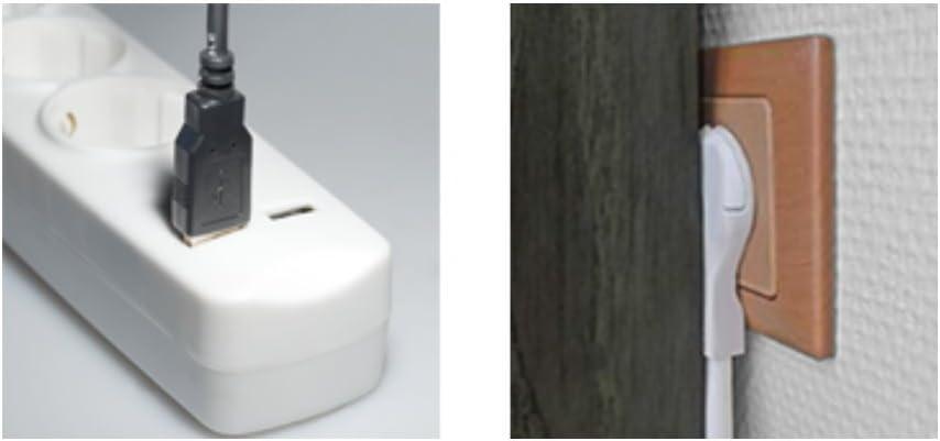 mit Schalter Kindersicherung 5m wei/ß 3-fach Steckdosenleiste mit 2 USB-Ladebuchsen und flacher Stecker