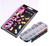WAWO Dried Flower Nail Art Decoration Mixed Colours Shapes in Case