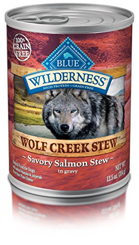 Blue Buffalo Wilderness Wolf Creek Stew High Protein Grain Free, Natural Wet Dog Food, Savory Salmon Stew in gravy 12.5-oz can (pack of 12)