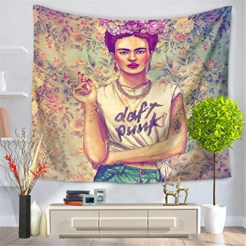 IcosaMro Frida Kahlo Tapestry Wall Hanging, Large (60x82.7) Floral Art Wall Decor for Bedroom- Women Artist Hippie Psychedelic Cool Wall Blanket for Home Living Room College - Deco Art Sofa Table