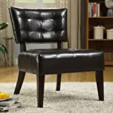 Enitial Lab Davi Compact Faux Leather Armless Accent Chair, Espresso For Sale